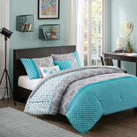 Twin / Twin XL size Aqua Geometric Blue / Gray Comforter Set