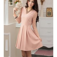 Long Sleeve Scoop Women Autumn New Style Korean Style Slim Vintage Pink Polyester Dress with Sash M/L/XL @WH0404p $25.12 only in eFexcity.com.