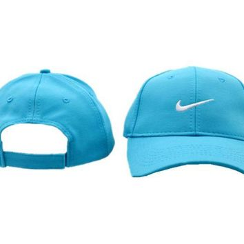 DCCKUNT Sky Blue Nike Embroidered Unisex Adjustable Cotton Sports Cap Hat