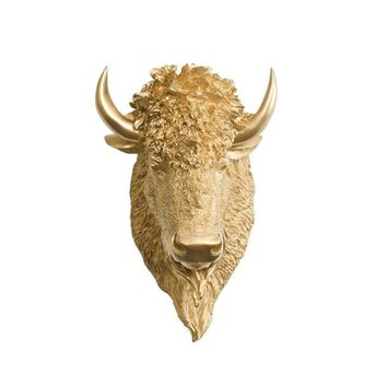 The Yellowstone | Mini Buffalo Bison Head | Faux Taxidermy | Gold Resin