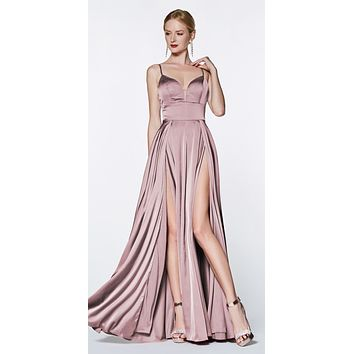 Floor Length A-Line Satin Gown Dusty Rose Double Slit Sweetheart Neck