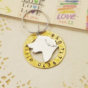 Personalized Golden Retriever Dog Tag, Hand Stamped Dog Tag, Dog Jewelry, Your Pet ID Tag, Customized Name & Phone number