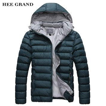 HEE GRAND Hot Sale Men's Parkas Fashion Autumn Winter Coat Padded Men's Hooded Outwear M-XXXL Casual Thickened MWM370