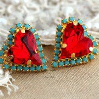 Red Heart turquoise Valentine's day Stud earrings Rhinestone Crystal bridesmaids gifts - 14k 1 micron Thick plated gold real swarovski