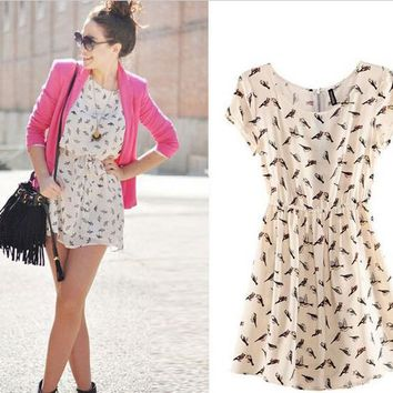 Womens Stylish Summer Casual Print Dress