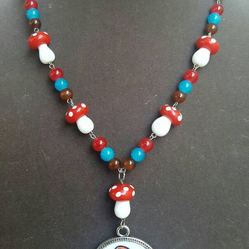 Mario Mushroom Video Game Necklace