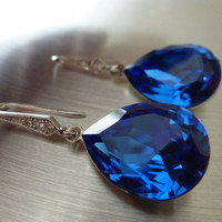 Blue Sapphire Earrings Crystal Teardrop by MyTinyStarShining