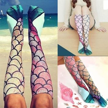 2017 New Women MermaidSocks Funny Beach Socks Festival Cosplay Women Fish Scale Pattern Casual Animal Print Cosplay Socks Gift Christmas Gift QD112001