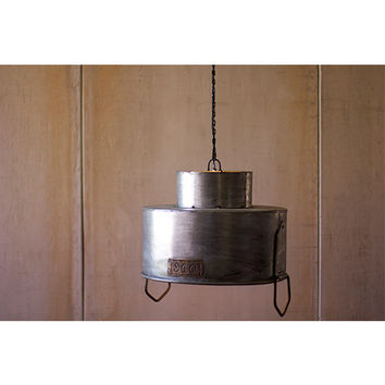 Kalalou NCC1002 Raw Metal Double Cylinder One-Light Dome Pendant