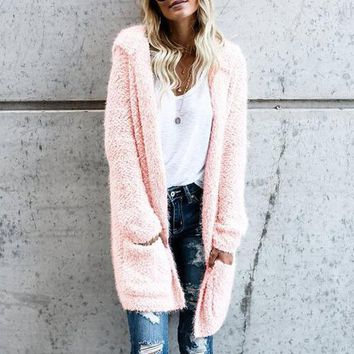 Women's Hooded Long Sleeve Long Cardigan