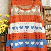 @Free Shipping@ Orange Women Sweet Knitting Sweater One Size H1076o from Voguegirlgo