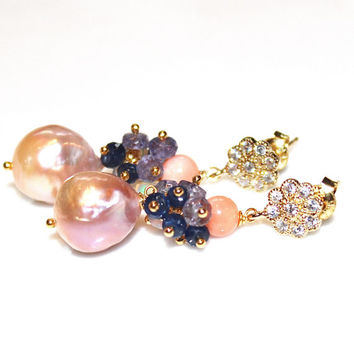 Baroque Pearl Earrings Bridal Earrings Wedding Jewelry Large Pearl Earrings Angelskin Coral Earrings Sapphire Earrings Tanzanite Earrings