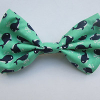 Nautical Preppy Green with Navy Blue and White Whales Hair Bow