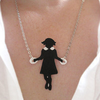 Little Girl Skipping Necklace Black Silhouette by whatanovelidea