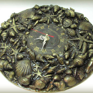 Brown & Gold Wall Clock  Marine Style  Nautical Home Decor Seashells Sea Style Beach Style Ready to Ship