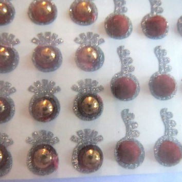 On sale 53 Designer Bollywood bridal Bindi India/Maroon crystal n shimmer/Dots/face jewel/Body Sticker/Tatto/fancy Bindi/Valentine gift