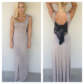 Mocha Maxi Dress with Black Lace Bow