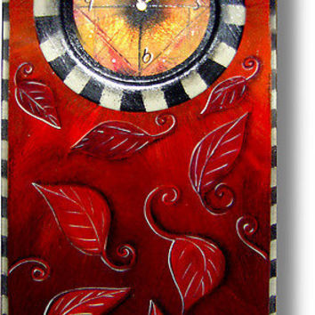 Red Leaf Clock: Wendy Grossman: Wood Clock - Artful Home