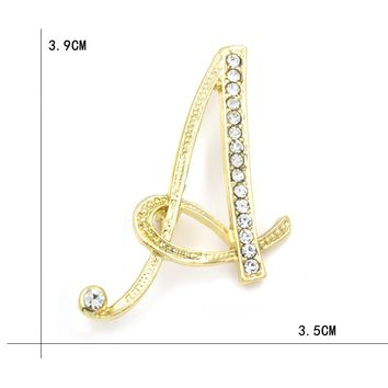 WEIMANJINGDIAN Brand Letters A to M Clear Crystal Rhinestone Brooch Pins for Women Jewelry in Gold Color Plated
