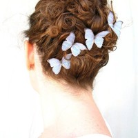 whither I wander . set of five ethereal blue handmade silk butterfly hair clips
