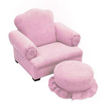 Komfy Kings, Inc 24014 Little Queen Pink Micro Tween Chair and Ottoman