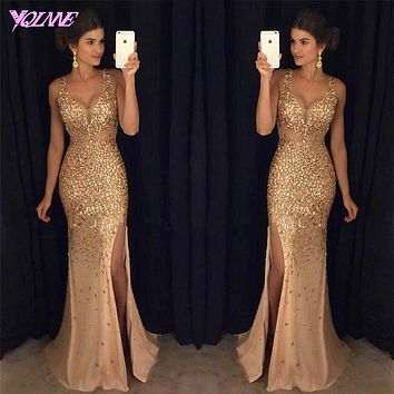 2017 Golden Crystals Long Prom Dresses Mermaid Evening Gown V-neck Tulle Slit Left Zipper Back Vestido De Festa