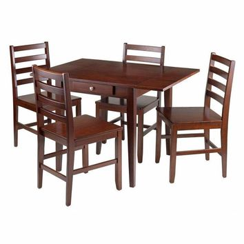 Hamilton 5-Pc Drop Leaf Dining Table with 4 Ladder Back Chairs