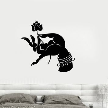 Wall Decal Lotus Hand Buddhism Hinduism Yoga Meditation Vinyl Stickers Unique Gift (ig2907)