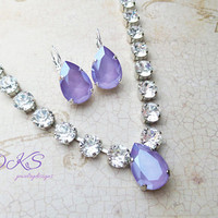 Beautiful Swarovski Bridal Necklace, Pear, Crystal Lilac, Pastel, Popular Color, DKSJewelrydesigns, FREE SHIPPING
