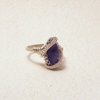 Iolite ring, water sapphire silver ring, marquise ring, purple, ring, wire wrapped ring