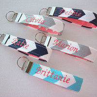 Key Fob Key FOB / KeyChain / Wristlet  -  Monogrammed - embroidered chevron coral ribbon - personalized