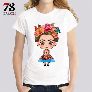 Tops and Tees T-Shirt frida kahlo Hot Sale T Shirt Women 2017 Summer Printed Short Sleeve T-shirt Female Plus Size   Tee Shirt Femme AT_60_4 AT_60_4
