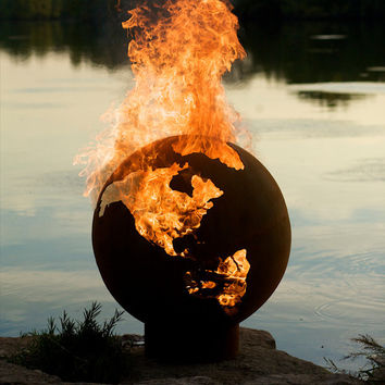 "Unique Wood Fire Pit ""The world on Fire"""