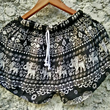 Shorts Elephant print Hippie Clothing Aztec Ethnic Bohemian Ikat Tribal Tribe Cute Girls Exotic Women Beach Summer Spring Unique Black white