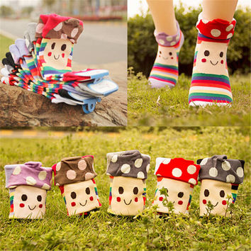 Womens Girls Cute Mushroom Warm Casual Sports Ankle Socks (5 PCS)