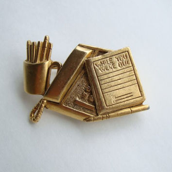 Danecraft Office Pin Phone Pen Memo Pad Vintage Jewelry