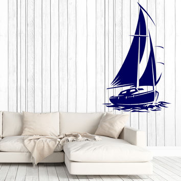 Wall Stickers Vinyl Decal Ocean Beach Yacht Ship with Sails Home Decor Unique Gift z4764