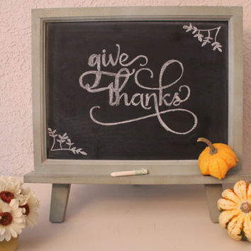 Distressed Green Chalkboard Magnet Frame - Table top easel - Thanksgiving - Christmas - Holidays Wedding Nursery Party Home Decor