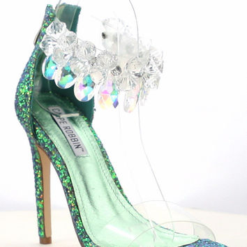 "Cape Suzy 54 Jeweled Ankle Strap 4.5"" High Heel Sandal Shoe Green Mermaid"