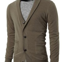 H2H Mens Basic Shawl Collar Knitted Cardigan Sweaters with Two Pockets