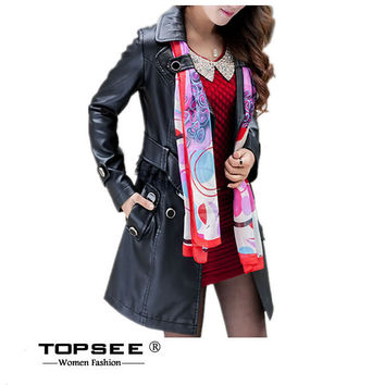 2016 Fashion Designer Brand Women Trench Coat Double Breasted PU Leather Women Outerwear c559