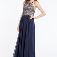 Scroll Beaded Dress with Chiffon Skirt