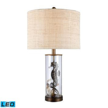 D1980-LED Largo LED Table Lamp In Bronze And Clear Glass With Natural Linen Shade - Free Shipping!