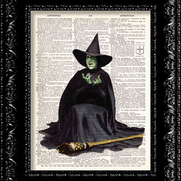 Wizard Of Oz - Wicked Witch Of The West - Dictionary Print Vintage Book Page Art Upcycled Vintage Book Art