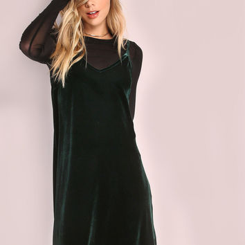Dark Green Swing Cami Dress | MakeMeChic.COM