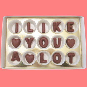 I Like You A Lot Large Milk Chocolate Letters Romantic Valentines Day First Anniversary Gift for Man Him Boyfriend Girlfriend Her BF GF