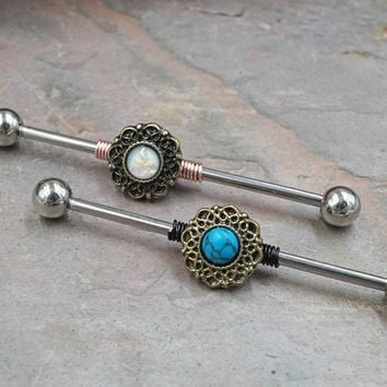 Opal or Turquoise Gold Industrial Barbell
