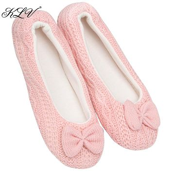 THINKTHENDO Ladies Women Warm Winter Bowknot Soft Indoor Home Slippers House Shoes Casual