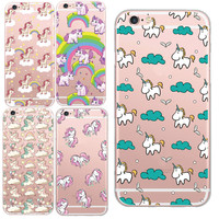 Transparent Unicorn Angel Horse Pattern Cell Phone Case For iphone 6 6s/plus Clear Soft Plastic Fondas Capa Cover