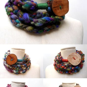 Loop Infinity Scarf Necklace, Crochet Scarflette Neckwarmer - Multicolor yarn with giant wood button - CUSTOM COLOR